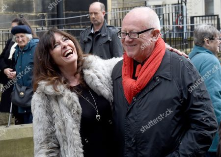 Vicki Michelle and Ken Morley attend the funeral of Gordon Kaye