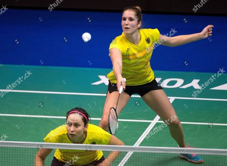 Stock Image of Carla Nelte (R) and Johanna Goliszewska (L) of Germany in action during the women's doubles game against Agnieszka and Aneta Wojtkowskie (not pictured) of Poland during the Badminton European Mixed Team Championships 2017 in Lubin, Poland, 17 February 2017.