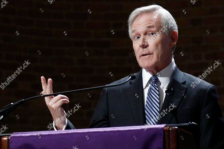 Stock Photo of Former Secretary of the Navy and former Mississippi Gov. Ray Mabus addresses an audience at Millsaps College in Jackson, Miss., . Mabus spoke of the efforts to strengthen the Navy and Marines during his eight year tenure as Secretary
