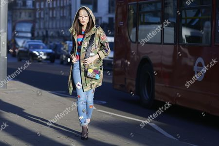 Editorial picture of Street Style, Day 1, Autumn Winter 2017, London Fashion Week, UK - 17 Feb 2017