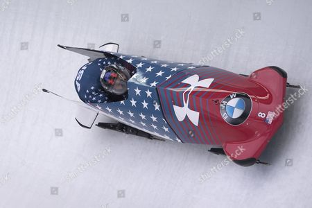 Steven Holcomb and Carlo Valdes of USA in action during the 2-man bobsleigh world championships  in Koenigsee, Germany, 18 February 2017.