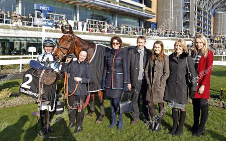 TENOR NIVERNAIS (Liam Treadwell) with trainer Venetia Williams after The Keltbray Swinley Chase Ascot