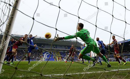 Matt Smith of QPR sees his shot saved by Jonathan Spector of Birmingham City during the Sky Bet Championship match between Birmingham City and Queens Park Rangers played at St Andrew's, Birmingham on 18th February 2017