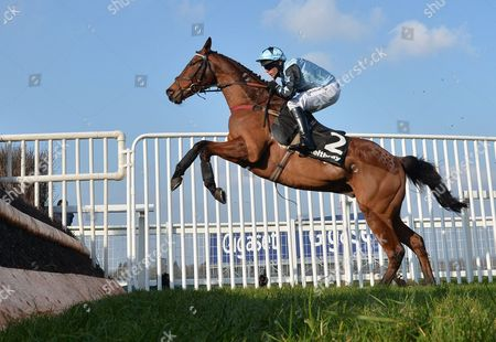 Stock Picture of Tenor Nivernais (Liam Treadwell) takes the last on the first circuit before going on to win The Keltbray Swinley Chase at Ascot Racecourse on Saturday 18th February 2017.