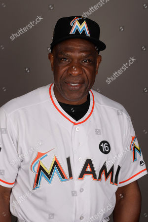 Miami Marlins' Andre Dawson is shown in this headshot before a baseball workout, in Jupiter, Fla