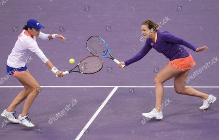 Abigail Spears (R) of the USA and Katarina Srebotnik of Slovakia in action against Olga Savchuk of Ukraine and Yaroslava Shvedova of Kazahkstan during their doubles final match of the WTA Qatar Ladies Open at the International Khalifa Tennis Complex in Doha, Qatar, 18 February 2017.