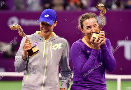 Abigail Spears (R) of United States And Katarina Srebotnik of Slovakia celebrate winning against Olga Savchuk of Ukraine and Yaroslava Shvedova of Kazahkstan during their doubles final match of the WTA Qatar Ladies Open at the International Khalifa Tennis Complex in Doha, Qatar, 18 February 2017.