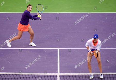 Abigail Spears (L) of the USA and Katarina Srebotnik of Slovakia in action against Olga Savchuk of Ukraine and Yaroslava Shvedova of Kazahkstan during their doubles final match of the WTA Qatar Ladies Open at the International Khalifa Tennis Complex in Doha, Qatar, 18 February 2017.