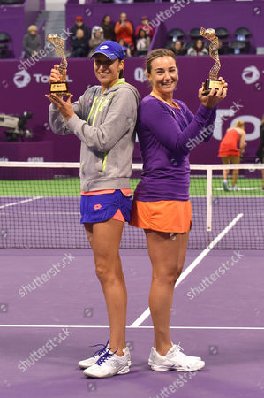 Abigail Spears (R) of United States And Katarina Srebotnik (R) of Slovakia celebrate winning against Olga Savchuk of Ukraine and Yaroslava Shvedova of Kazahkstan during their doubles final match of the WTA Qatar Ladies Open at the International Khalifa Tennis Complex in Doha, Qatar, 18 February 2017.