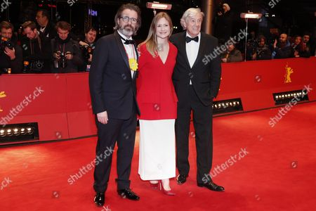 Jury President Dutch director Paul Verhoeven(R) German actress Julia Jentsch (C) and Icelandic artist Olafur Eliasson arrive for the Closing and Awards Ceremony of the 67th annual Berlin Film Festival, in Berlin, Germany, 18 February 2017. The Berlinale runs from 09 to 19 February.