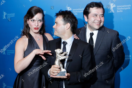 Sebasti'n Lelio, Gonzalo Maza, Daniela Vega Daniela Vega, from left, Sebastián Lelio and Gonzalo Maza pose for photographers with the Silver Bear for Best Screenplay for 'Una Mujer Fantastica' after the award ceremony at the 2017 Berlinale Film Festival in Berlin, Germany