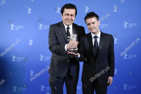 Sebastian Lelio (R) and Gonzalo Maza (L) pose with the Silver Bear for Best Script for the movie 'Una Mujer Fantastica' during the closing and award ceremony of the 67th annual Berlin International Film Festival, in Berlin, Germany, 18 February 2017.  The Berlinale runs from 09 to 19 February.