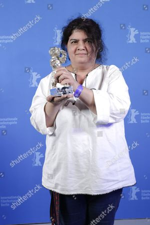 Stock Picture of Dana Bunescu poses with the Silver Bear for Outstanding Artistic Contribution for Cinematography for the movie 'Ana, Mon Amour' during the closing and award ceremony of the 67th annual Berlin International Film Festival, in Berlin, Germany, 18 February 2017. The Berlinale runs from 09 to 19 February.