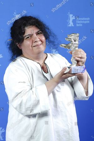 Stock Image of Dana Bunescu poses with the Silver Bear for Outstanding Artistic Contribution for Cinematography for the movie 'Ana, Mon Amour' during the closing and award ceremony of the 67th annual Berlin International Film Festival, in Berlin, Germany, 18 February 2017. The Berlinale runs from 09 to 19 February.