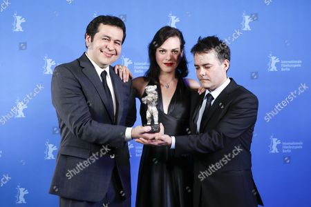 Stock Image of Sebastian Lelio (R), Daniela Vega and Gonzalo Maza (L) pose with the Silver Bear for Best Script for the movie 'Una Mujer Fantastica' during the closing and award ceremony of the 67th annual Berlin International Film Festival, in Berlin, Germany, 18 February 2017.  The Berlinale runs from 09 to 19 February.