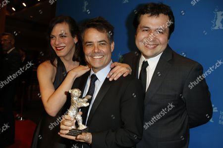 Sebastian Lelio (C), Daniela Vega and Gonzalo Maza (R) pose with the Silver Bear for Best Script for the movie 'Una Mujer Fantastica' for the movie 'Una mujer Fantastica'  during the Award Winners photocall after the Closing and Awards Ceremony of the 67th annual Berlin Film Festival, in Berlin, Germany,  18 February 2017. The Berlinale runs from 09 to 19 February.