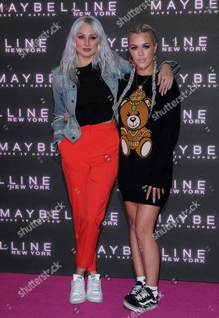 Lottie Tomlinson (R) and celebrity make-up artist Lou Teasdale
