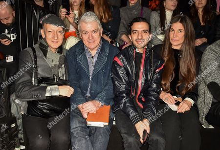 Stephen Jones, Tim Blanks, Imran Ahmed and Elizabeth Saltzman in the front row