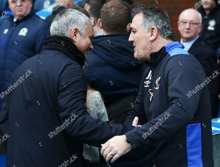 Manchester United manager Jose Mourinho with counterpart Owen Coyle of Blackburn Rovers during the Emirates FA Cup 5th Round match between Blackburn Rovers and Manchester United played at Ewood Park, Blackburn, on 19th February 2017
