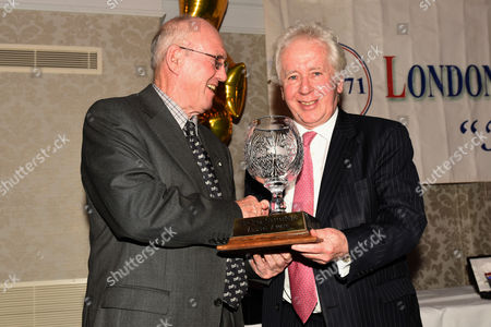 Stock Image of Jeff Powell of the Daily Mail receives the Reg Gutteridge Award for Services to Boxing Media