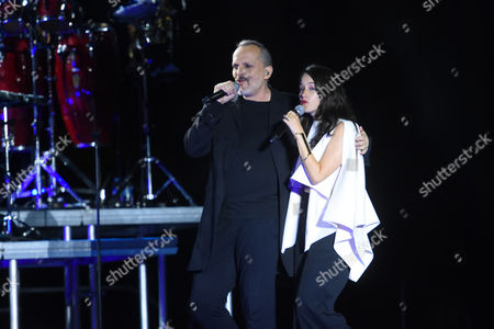 Miguel Bose and Ximena Sarinana perform live during his 'Estare' tour at the main square