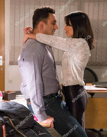 Rakesh Kotecha, as played by Pasha Bocarie, and Priya Kotecha's, as played by Fiona Wade, relationship gets steamy at the office. (Ep 7755 - Thur 23 Feb 2017)