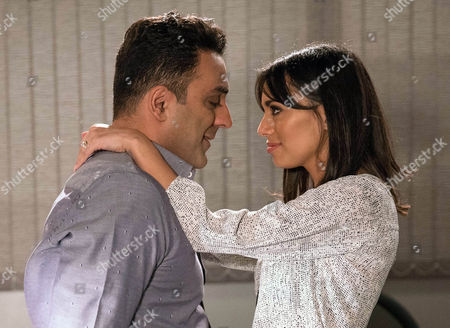 Stock Picture of Rakesh Kotecha, as played by Pasha Bocarie, and Priya Kotecha's, as played by Fiona Wade, relationship gets steamy at the office. (Ep 7755 - Thur 23 Feb 2017)