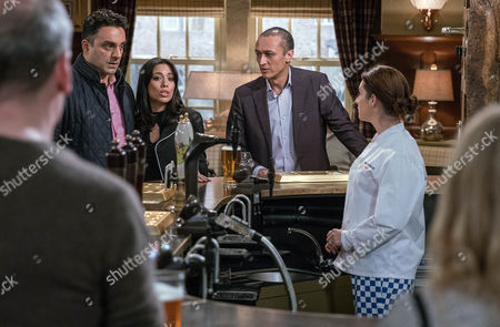 Stock Photo of Priya Kotecha, as played by Fiona Wade, and Rakesh Kotecha, as played by Pasha Bocarie, broadcast their renewed relationship by having a drink together, leaving Rishi surprised. But how will Nicola King, as played by Nicola Wheeler, take the news? (Ep 7759 - Mon 27 Feb 2017)