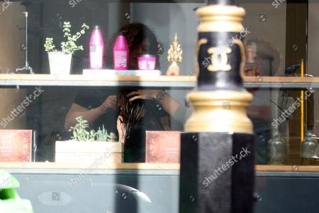 Bella Hadid inside the George Northwood Salon