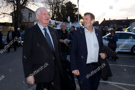 Matt Le Tissier (R) & Lawrie McMenemy (L) arrive during the Emirates FA Cup 5th Round match between Sutton United and Arsenal at Borough Sports Ground, Gander Green Lane, Surrey on 20th February 2017