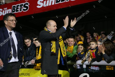 Sutton fan and comedian Tim Vine during the Emirates FA Cup 5th Round match between Sutton United and Arsenal played at Craven Cottage, London, on 19th February 2017
