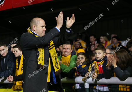 Comedian, and Sutton fan, Tim Vine greets the fans during the Emirates FA Cup 5th Round match between Sutton United and Arsenal played at Gander Green Lane, London, on 20th February 2017