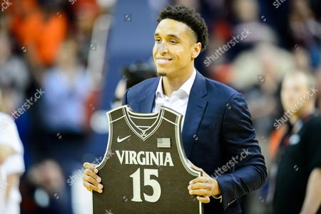 Virginia honored former player Malcolm Brogdon and retired his number during the NCAA Basketball game between the Miami Hurricanes and the Virginia Cavaliers at John Paul Jones Arena on in Charlottesville, VA