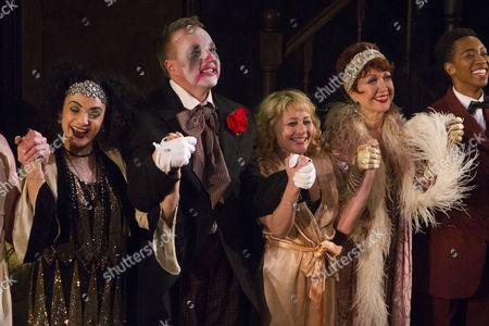 Victoria Hamilton-Barritt (Kate), John Owen-Jones (Burrs), Frances Ruffelle (Queenie) and Donna McKechnie (Dolores) during the curtain call