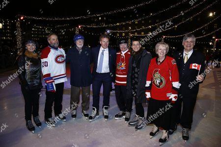 David Johnston, Governor General of Canada, Daniel Alfredsson, Ambassador Heather Grant, skating in Kungsträdgården, Stockholm