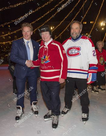 Stock Picture of David Johnston, Governor General of Canada, Daniel Alfredsson, State Visit from Canada, skating in Kungsträdgården, Stockholm