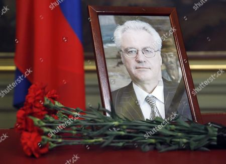 A portrait of Russia's Ambassador to the UN Vitaly Churkin placed at the Foreign Ministry guest house in Moscow, Russia, 21 February 2017. Vitaly Churkin died after heart attack in New York a day before his 65-year birthday.