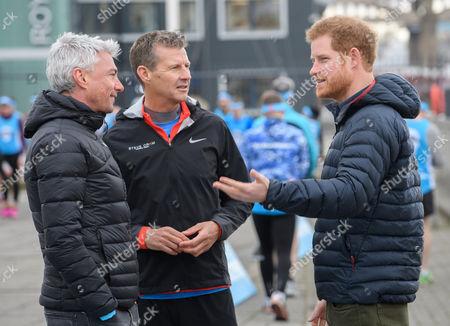 Jonathan Edwards, Steve Cram and Prince Harry at a marathon training session on the Quayside