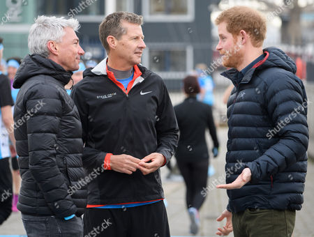 Stock Picture of Jonathan Edwards, Steve Cram and Prince Harry at a marathon training session on the Quayside