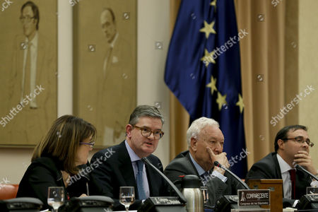 European Commissioner for Security, Julian King (2-L), apperars before the Joint Committee for the European Union and the Joint Committee of National Security, next to their presidents, Soraya Rodriguez (L) and Jose Manuel Garcia-Margallo (2-R), in Madrid, Spain, 21 February 2017.