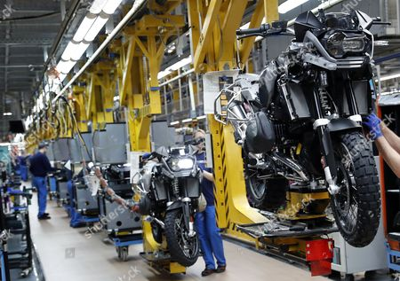 A general view of the assembly line BMW motorcycle factory in Berlin, Germany, 21 February 2017, as German Minister of Labour and Social Affairs, Andrea Nahles and French Minister of Labour, Myriam El Khomri (unseen) visit the plant. Both politicians also discussed the possible take over from the German Opel company by the French PSA Group that manufactures Peugeot and Citroen automobiles.