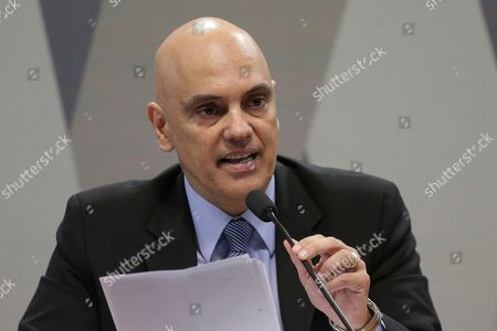 Brazil's former Minister of Justice Alexandre de Moraes, speaks about his indication to Minister of Supreme Court, during session of the Commission of Constitution and Justice of the Senate, in Brasilia, Brazil, . The Brazilian Senate has begun a process on Feb. 21, 2017, that is likely to confirm Moraes for the country's Supreme Court
