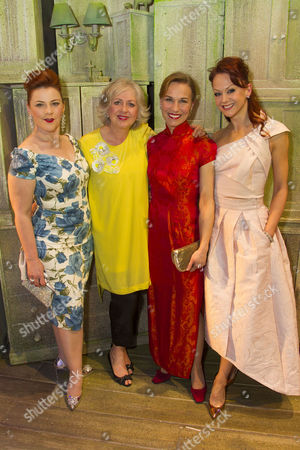 Sophie-Louise Dann (Celia), Claire Moore (Chris), Joanna Riding (Annie) and Jenny Gayner (Miss Wilson) backstge
