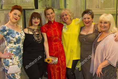 Sophie-Louise Dann (Celia), Debbie Chazen (Ruth), Joanna Riding (Annie), Claire Moore (Chris), Claire Machin (Cora) and Michele Dotrice (Jessie) backstage