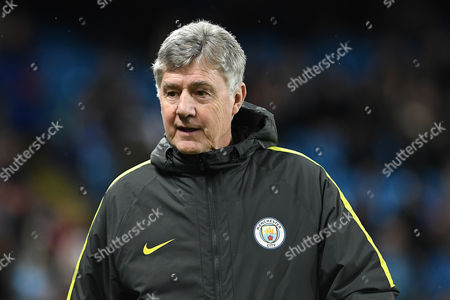 Brian Kidd of Manchester City walks out on to the touch line prior to the UEFA Champions League match between Manchester City and AS Monaco played at The Etihad Stadium, Manchester on 21st February 2017