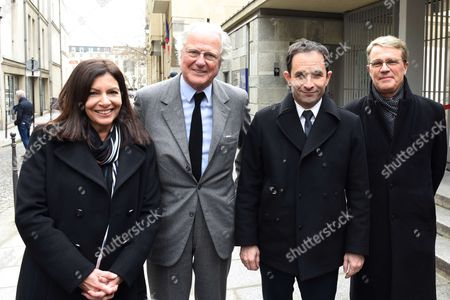 Socialist candidate in the 2017 Presidential elections, Benoit Hamon with Memorial Director Jacky Fredj, CEO Baron Eric de Rothschild and Vice President Francois Heilbronn, Anne Hidalgo and Patrick Bloch