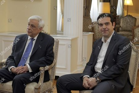 President of the Hellenic Republic Prokopis Pavlopoulos (l) Talks with Political Party Leaders As Greek Premier Alexis Tsipras (r) Looks On Prior to a Luncheon at the Presidential Mansion to Mark the 41st Anniversary Since the Fall of the 1967-1974 Military Junta and the Restoration of Democracy in Greece Athens Greece 24 July 2015 the Luncheon is Attended by Prime Minister Alexis Tsipras Main Opposition New Democracy's Interim Leader Evangelos Meimarakis the Head of the Opposition Party Potami Stavros Theodorakis Communist Party of Greece (kke) Central Committee Member Athanasios Pafilis (in the Absence of Kke General Secretary Dimitris Koutsoumbas) the Head of the Independent Greeks (anel) Party Panos Kammenos and Pasok Leader Fofi Gennimata