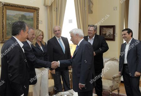 President of the Hellenic Republic Prokopis Pavlopoulos (c) Welcomes Political Party Leaders Prior a Luncheon at the Presidential Mansion to Mark the 41st Anniversary Since the Fall of the 1967-1974 Military Junta and the Restoration of Democracy in Greece Athens Greece 24 July 2015 the Luncheon is Attended by Prime Minister Alexis Tsipras (r) Main Opposition New Democracy's Interim Leader Evangelos Meimarakis (3r) the Head of the Opposition Party Potami Stavros Theodorakis ( L) Communist Party of Greece (kke) Central Committee Member Athanasios Pafilis (2l) (in the Absence of Kke General Secretary Dimitris Koutsoumbas) the Head of the Independent Greeks (anel) Party Panos Kammenos (2 R) and Pasok Leader Fofi Gennimata (3 R)