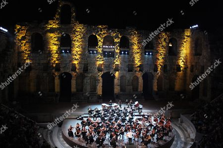 Editorial picture of Athens State Orchestra with Vladimir and Dimitri Ashkenazy at Odeon of Herodes Atticus - Aug 2016