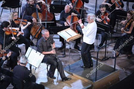 Stock Image of A Photograph Made Available On 02 August 2016 Shows Russian Conductor Vladimir Ashkenazy (c) Performing with the Athens State Orchestra During a Concert at Odeon of Herodes Atticus in Athens Greece 01 August 2016 Ashkenazy with His Son Dimitri Ashkenazy (c-l) On Solo Clarinet Performed a Classical Program As Part of the 2016 Athens and Epidaurus Festival